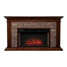 Boston Loft Furnishings 60-in W 5,000-BTU Whiskey Maple MDF LED Electric Fireplace with Thermostat and Remote Control