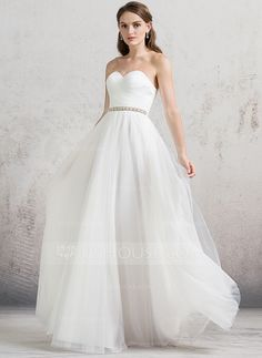 A-Line/Princess Sweetheart Floor-Length Ruffle Beading Zipper Up Strapless Sleeveless Hall General Plus No Spring Summer Fall Ivory Tulle Wedding Dress