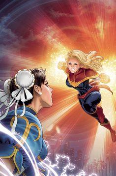 Chun-Li vs Captain Marvel by Shinkiro Ms Marvel, Disney Marvel, Marvel Dc Comics, Marvel Girls, Capcom Vs Snk, Marvel Universe, Game Design, Star Trek, Comics Anime