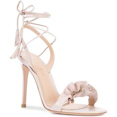 Gianvito Rossi Flora frill sandals (21.450.555 VND) ❤ liked on Polyvore featuring shoes, sandals, heels stilettos, gianvito rossi sandals, ruffle sandals, leather shoes and open toe leather sandals