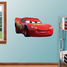 Cars Route 66 Pixar Cars Decal Wall Decal for Man Cave or Garage Lightning McQueen Removable Vinyl Wall Decoration for Boys Room Playroom Gameroom or Dr Office Removable