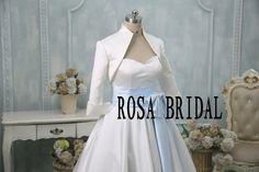 Hey, I found this really awesome Etsy listing at https://www.etsy.com/listing/213393906/bridal-34-sleeve-satin-wedding-bolero