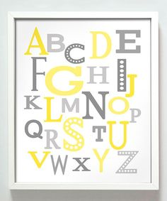 Take a look at this Yellow & Blue Modern Alphabet Print by Gus & Lula on #zulily today for the kids area