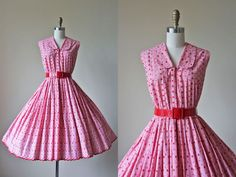 50s Dress - Vintage 1950s Dress - Red White Embroidered Eyelet Zip Up Gingham…