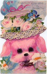 pretty vintage poodle card