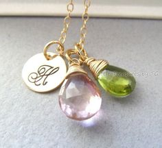 Personalised bridesmaid necklace - view the whole apple-green and light pink colour scheme at http://themerrybride.org/2014/03/20/apple-green-and-light-pink-wedding/
