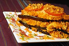Eggplant lasagna with chopped nut filling