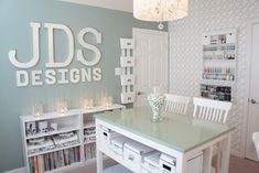 House of Turquoise: JDS Designs. One day I will have a beautiful home office and craft room. House Of Turquoise, Turquoise Office, Home Office Design, Home Office Decor, Home Decor, Office Ideas, Desk Ideas, Room Ideas, Office Furniture
