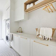 Kinsman | Laundry | Luke & Jasmin Laundry Shelves, Laundry Room, Custom Made Furniture, Furniture Making, Hanging Rail, Home Reno, Stacked Washer Dryer, Downlights, Classic White