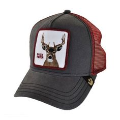 Goorin Bros Buck Fever Mesh Trucker Snapback Baseball Cap Snapback Hats  This animal sure stands out in nature! A charcoal and red mesh trucker ball  cap is ... 5ad09c8366f