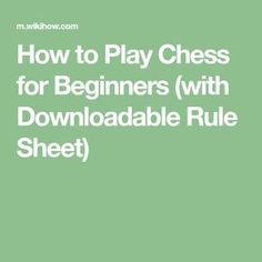 Chess Help Sheet  Chess Student Learning And Students