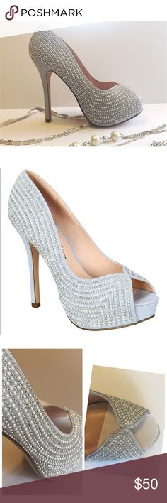 Silver Rhinestone and Pearl Platforms Gorgeous NEW pair of silver rhinestone and pearl platform heels by De Blossom Collection.   These have a 5 inch heel and a 1 inch platform.  Size 8.  Perfect for a wedding or other special event! Please comment if you have any questions!  Offers may be considered  *** More sizes available De Blossom Collection Shoes Heels