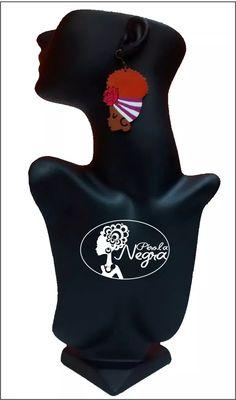 brinco afro turbante com faixa em mdf