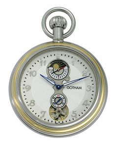 """Gotham Men's Two-Tone Mechanical Sun/Moon 24 HR Movement Pocket Watch # GWC14056TA Gotham. $59.95. Includes matching 14"""" curb pocket watch chain with spring ring attachment. Rich textured white dial with hand applied silvertone Arabic numbers. Arrives with deluxe draw string pouch and gift box, Selvyt polishing cloth, operating instructions and lifetime limited warranty card. Case design features built in stand plus scratch resistant mineral crystal. Precision ..."""