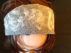 Bandeau/headband laine bouillie gris clair et laine feutrée blanche