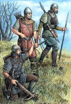 Grupo de almogávares: ballestero, arquero y hondero. Más en www.elgrancapitan.org/foro