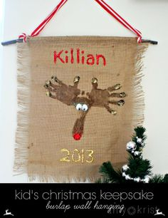 Kid's Christmas keepsake. Burlap wall hanging.