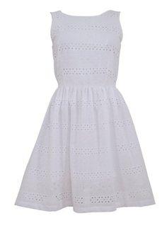New Look White Broderie Stripe Sun Dress
