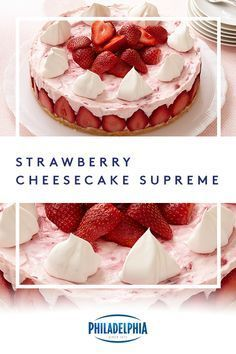 End your night on a sweet note with this refreshing strawberry no-bake cheesecake recipe. #ItMustBeThePhilly