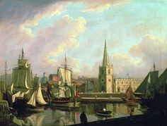 "John Thomas Serres: ""Georges Dock Basin, Liverpool"", 1797 -- Another view of Liverpool. The church on the dockside is St. Liverpool Town, Liverpool Docks, Liverpool History, Old Pictures, Old Photos, John Thomas, Most Famous Paintings, New Brighton, Giclee Print"