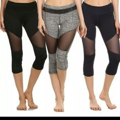 Sexy mesh cutout capri workout active leggings Awesome ? mesh detail workout capri leggings in a size s, m, l, xl. Workout in style with these awsome four way stretch fabric for extra comfort. Perfect for the gym, yoga, running.  Comes in Heather gray,  black and blue. Pants Leggings