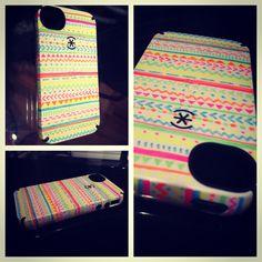 DIY phone case design using neon sharpies