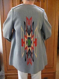 VGUC VTG 40s NAVAJO CHIMAYO M L Hand Made Blue Red Native American Jacket Coat