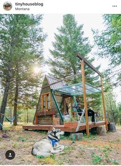 Tiny House Magazine solar powered cabin in Montana Tiny Cabins, Tiny House Cabin, Tiny House Living, Tiny House Design, A Frame Cabin, A Frame House, Diy Solar, Cabins In The Woods, House And Home Magazine