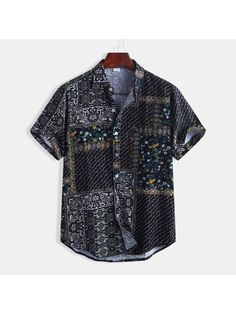 Mens Cotton Ethnic Floral Printing Short Sleeve Casual Shirt is designer and cheap on Newchic. Ethnic Fashion, Mens Fashion, Gay Outfit, Summer Shirts, Cotton Shorts, Printed Shirts, Shirt Style, Casual Shirts, Shirt Designs
