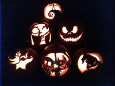 Nightmare Before Christmas pumpkins made by my sisters and I
