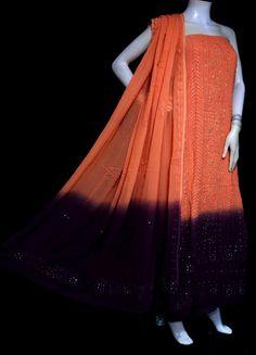 ISHIEQA's Pure Georgette Orange-Brown Mukaish Dress Material-MV1508D Salwar Suits, Salwar Kameez, White Churidar, Chikankari Suits, Buy Fabric Online, Salwar Designs, White P, Anarkali Dress, Orange Brown