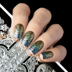This stamping plate is breathtaking with Hand of Hamsa, paisley and floral designs to stamp your next manicure with. Nail Design Kit, Nail Designs, Nail Stamping Plates, Manicure, Nails, Hamsa Hand, Floral Designs, Paisley, Spirit