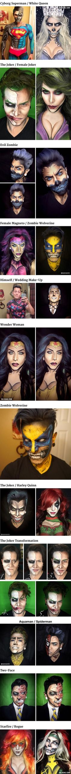 The Artist Turns Himself Into Marvel And DC Characters Using Only Makeup
