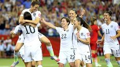 Jun 30, 2015; Montreal, Quebec, CAN; United States forward Kelley O'Hara (5) celebrates her goal during the second half against Germany in the semifinals of the FIFA 2015 Women's World Cup at Olympic Stadium. PHOTO: Reuters/ Jean-Yves Ahern-USA TODAY Sports ▼1Jul2015ChannelNewsAsia|Americans reach World Cup final, earn another chance of glory http://www.channelnewsasia.com/news/sport/americans-reach-world-cup/1952710.html #2015_FIFA_Womens_World_Cup #Semifinal_United_States_vs_Germany