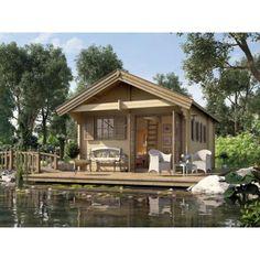 """Pavillon en bois de luxe """"Müritz"""" avec mezzanine épaisseur 45 mm"""