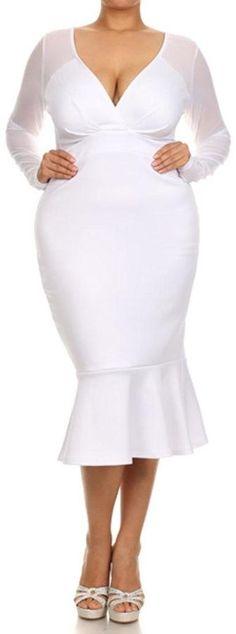 Plus Size White BodyCon Dress - Curvitude Lovely Ruffle Dress #plussize