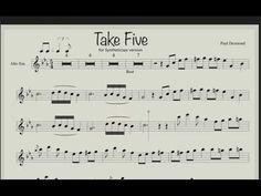 Paul Desmond - Take Five (sheet music & Backing track for saxophone alto) Alto Sax Sheet Music, Jazz Sheet Music, Alto Saxophone Fingering Chart, Jazz Guitar Lessons, Trumpet Music, Take Five, Backing Tracks, Nikola Tesla, Keyboard