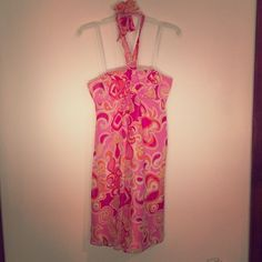 Lilly Pulitzer silk halter dress  RARE 100% silk Lilly Pulitzer halter dress! The print is so cute with turtles, lobsters, and crabs all blended into a paisley like design! Built in padding so no bra needed, which is always a plus! This dress is perfect for the beach! Worn only once!  Lilly Pulitzer Dresses Mini