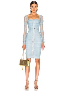 Shop for Dolce & Gabbana Ruched Long Sleeve Dress in Blue at FWRD. Dope Outfits, Stylish Outfits, Dress Outfits, Fashion Outfits, Womens Fashion, Pop Fashion, Blue Dresses, Casual Dresses, Dresses With Sleeves