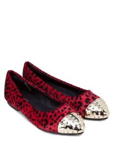 BF SOLE Pointy Animal Printed Ballerinas With Metal Toe Cap 動物印花平底鞋