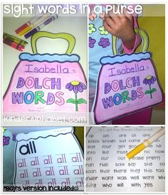 Amazing Back to School Bundle includes these Sight Words on-the-GO. There is a Purse template for girls and a car template for boys :)