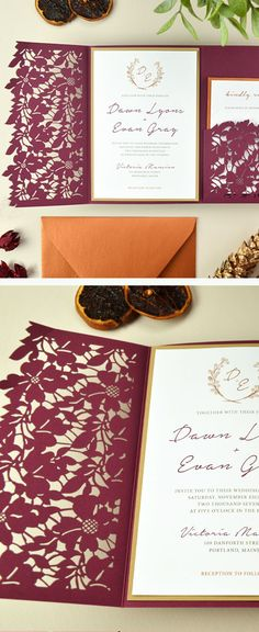 Burgundy and copper wedding invitations with laser cut leaves and florals, perfect for fall weddings. Lace Invitations, Laser Cut Wedding Invitations, Wedding Invitation Cards, Wedding Stationery, Invites, Copper Wedding, Diy Wedding, Maroon Wedding, Wedding Trends