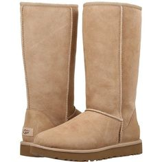 UGG Classic Tall II (Sand) Women's Boots ($200) ❤ liked on Polyvore featuring shoes, boots, mid-calf boots, fur boots, water-resistant boots, short high heel boots, high boots and high platform boots