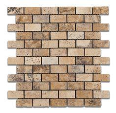 1 X 2 Philadelphia Travertine Tumbled Brick Mosaic Tile