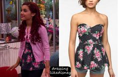 """Ariana's Urban Outfitters Peplum Floral Top in this weeks episode of Sam & Cat, """"#TheBritBrats"""" as Cat Valentine"""