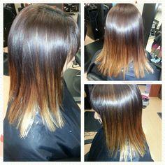 Hair by Angela Parmertor at SalonBlu @ Bella Luca Salon! 440-449-4848 #Brunette #Fall  #ombre  #Trendycut #Pretty #BellaBlu4Hair #BellaBluBeau