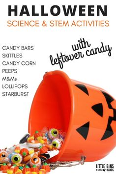 Do you have leftover Halloween candy or too much candy hanging around the house? Turn your extra candy into cool candy science activities! Halloween candy science uses all the candy you collected the night before and turns it into fun hands on learning science experiments and STEM activities. We also have Halloween math activities perfect for early learning. Halloween science with candy is a real treat. Taste test wit the 5 senses, dissolve candy, make an edible rock cycle, and more.