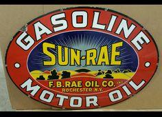 Beautiful Sun-Rae Gasoline & Motor Oil Porcelain Sign