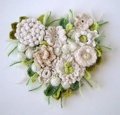 a bunch of crochet flowers...This is a crocheted pin @ Af's 30/1/13