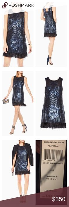 "New BCBGMAXAZRIA Caterina Sequined Dress Size L This mini silhouette debuts intricate patterns light-catching sequin embellishments and ostrich feathers at the hem for a complete look of luxe. Color - dark navy. Size - Large. Season - spring 2017, new collection Roundneck Sleeveless V-back Fringed hemline Back zipper closure Polyester crepe de chine lining About 31"" from shoulder to hem Nylon Hand wash Imported This item will arrive with a tag attached and instructions for removal. Once tag…"
